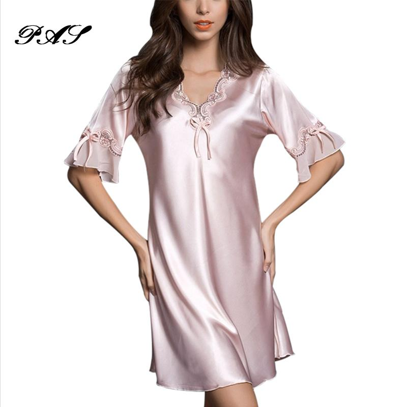 fc7e6f8411 ... b3f66ed51 Compre Camisola Pijama Victoria Sexy Vestido De Noite De Seda  Rendas Plus Size Manga Curta ...