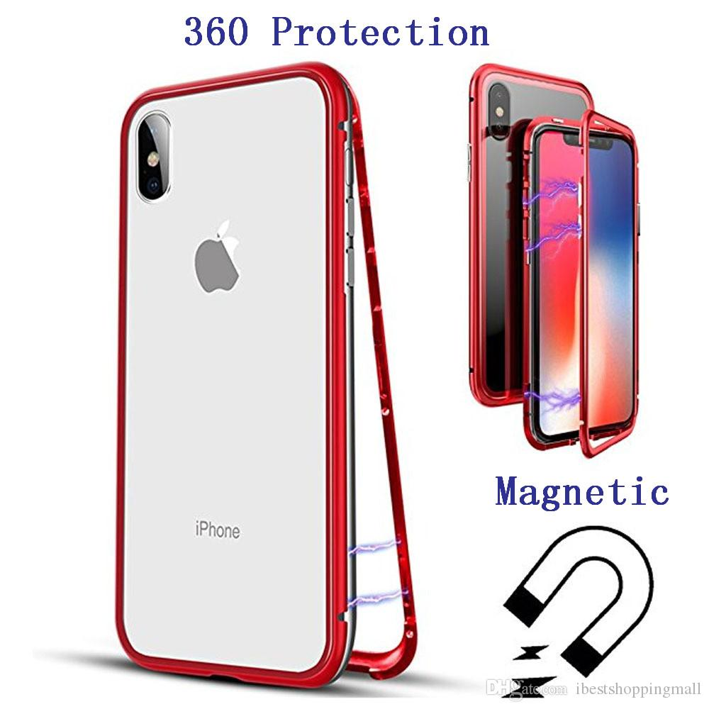 reputable site f4223 6ec13 Magnetic Adsorption Tempered Glass Case 360 Protection Back Panel For  iPhone 8 7 6S X Xr Xs Max Plus Samsung S10 Plus S8 S9 Plus Note 9 8