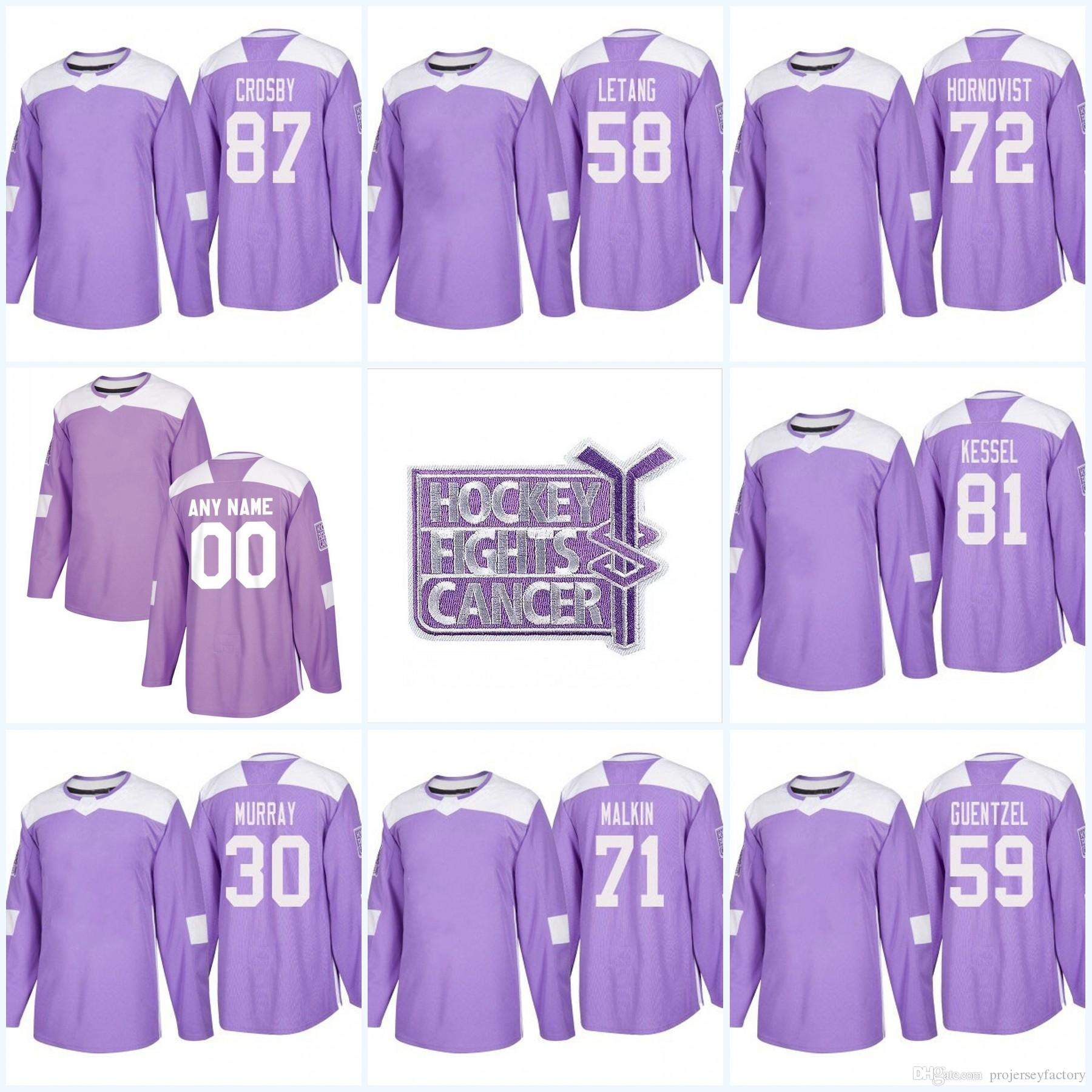 cheap for discount 3db92 53407 Kris Letang Pittsburgh Penguins Purple Fight Cancer Practice 59 Jake  Guentzel 71 Evgeni Malkin 72 Patric Hornqvist 87 Sidney Crosby Jersey