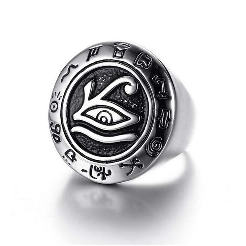 خاتم عين حورس ، خاتم العين الثالثة ، مجوهرات مصرية من أجله ، هدية ، خاتم من الفولاذ المقاوم للصدأ ، خاتم رجالي من الذهب والمجوهرات القديمة