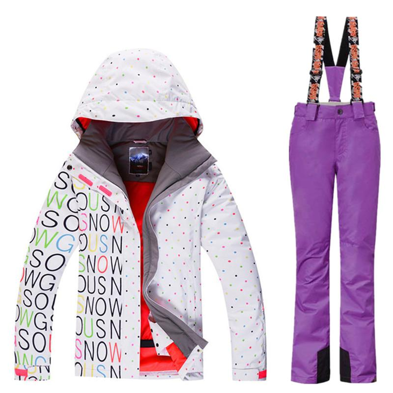 Skiing Suits Jacket Pant Women Outdoor Snowboarding Sets Ski Snow ... 61c44a68e