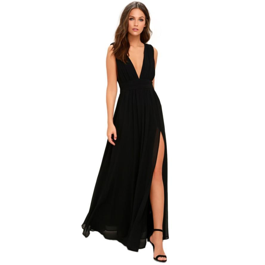 f41b08bb95 Best Selling Women Summer Chiffon Sexy Deep V Neck Backless Ball Gown Dress  Casual Ladies Solid Long Wedding Party Night Dresses Girls Dress Bridal  Dress ...