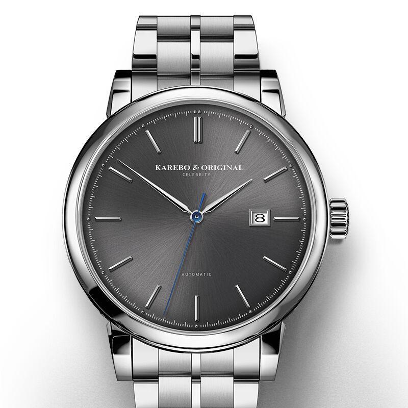 130fc8f5486 Compre KAREBO Mens Fashion Business Automático Auto Vento Mecânica Relógio  De Pulso De Strips