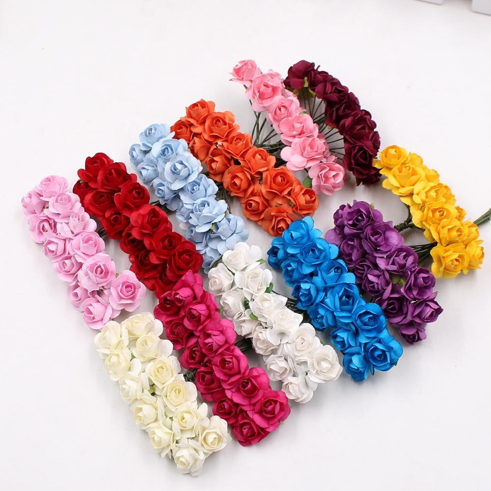 Mini Paper Rose Handmake Artificial Flower Bouquet Wedding