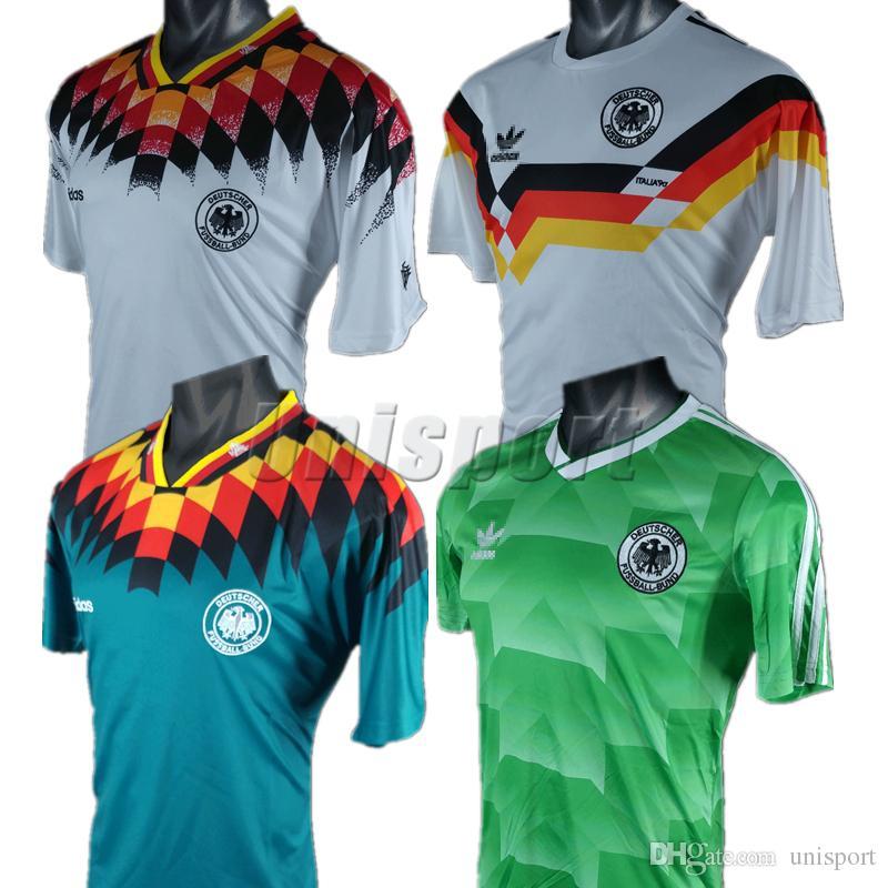 Retro 1988 1990 1994 Camisetas De Fútbol De Alemania Fútbol Camisa  Deutschland Camisetas De Fútbol Vintage Kit Maillot Por Unisport 4170b917a4a86