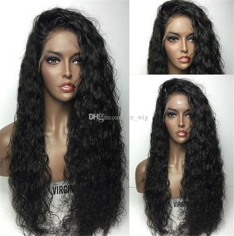 130-180% Densidade Cheia Do Laço Perucas de Cabelo Humano Para As Mulheres Negras Brasileira Kinky Curly Remy Do Cabelo Natural Linha Fina Com o Cabelo Do Bebê