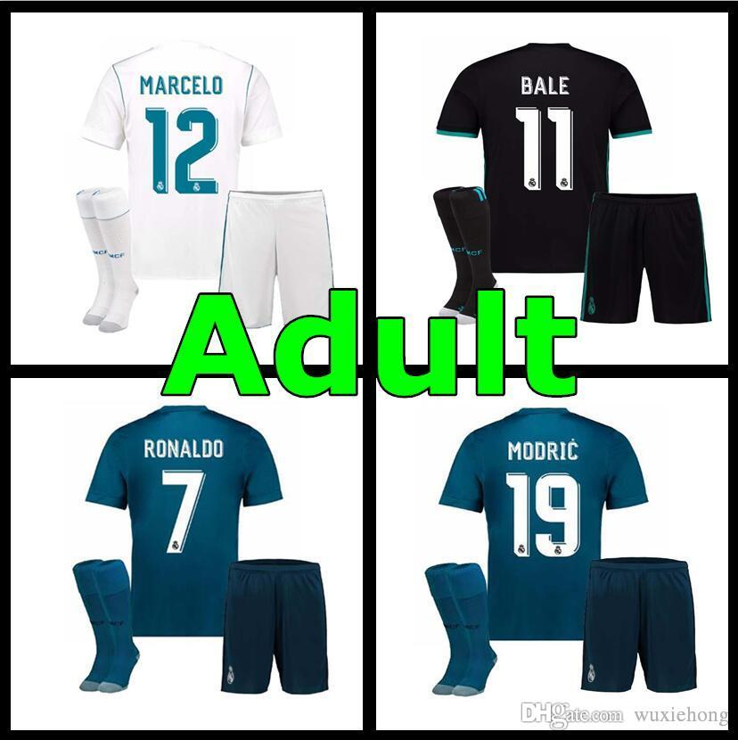 sports shoes d3a7a e7e7d Top thai quality Real Madrid adult football Jersey kit+sock 17 18 home away  CR7 Ronaldo ASENSIO Ramos 2017 2018 mens soccer jerseys kit