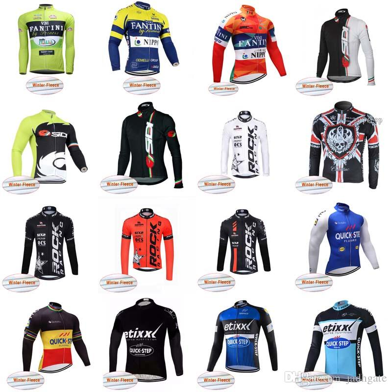 FANTINI QUICK STEP Team Cycling Winter Thermal Fleece Jersey Men Winter Cycling  Clothing Quick Dry Mtb Bicycle Maillot Ropa Ciclismo D1023 Vintage T Shirts  ... f24b0f8a8