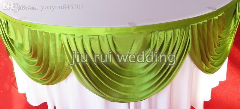 TÜM Boyut Renkli Özelleştirilmiş Parlaklık Buz Ipek Masa Etek Masa Düğün Dekorasyon Için Swag Ile Süpürgelik