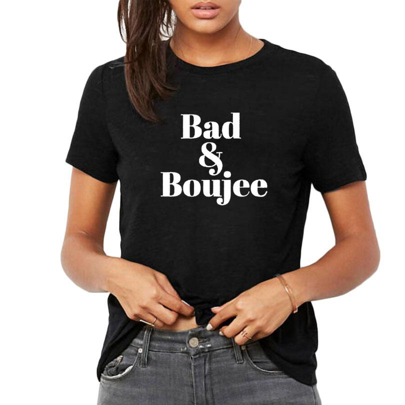 37883d7c Women's Tee Bad And Boujee T Shirt Black White Tumblr Hip Hop Streetwear  Fashion Letters T Shirt Women Crewneck Short Sleeve Size S - Xxl