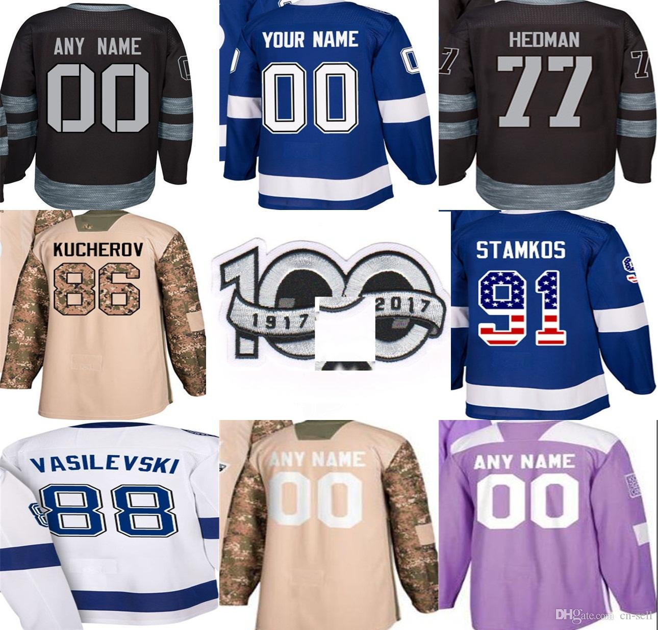 100th Limited Patch 2018 Custom Tampa Bay Lightning New Third Men Lady Kids  Steven Stamkos 77 Victor Hedman Kucherov Hcokey Jerseys UK 2019 From Cn  Sell af94188a18d