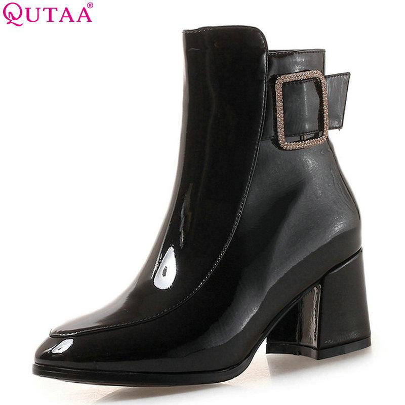 ff3a4fa9f QUTAA 2019 Women Ankel Boots Pu Leather All Math Platform Women Shoes  Square High Heel Motorcycle Boots Size 34 43 Winter Boots Over The Knee  Boots From ...