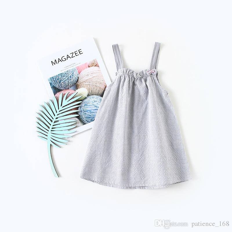 summer dress 2018 hot selling INS summer new Korean style girls sleeveless plaid printed Dress cute sling dress