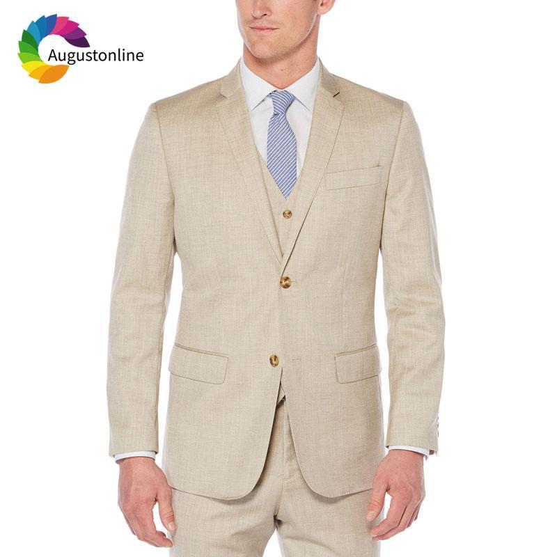 Acheter Champagne Lin Mens Costumes De Mariage Homme Blazer Masculino Mince  Fit Casual Groom Tuxedo Hommes Costume 2018 3 Pièce Jacket Pant Gilet De   94.8 ... 4bba7ffb9fc