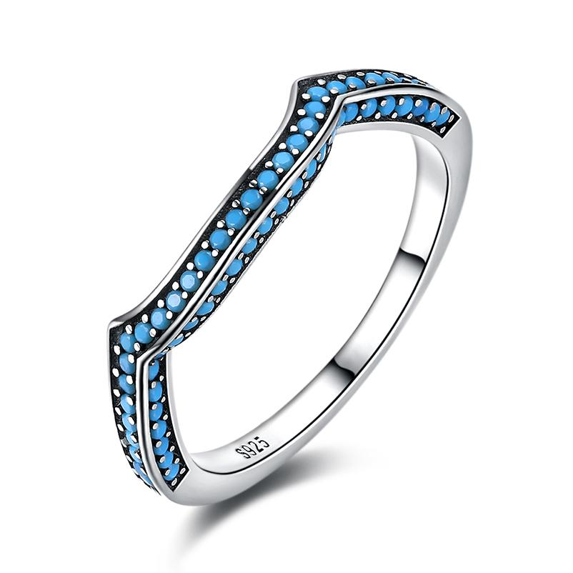 1e14dd1fcf8373 2019 Geometric Turquoise 925 Sterling Silver Wedding Bands Rings For Women  Girls Fashion Party Birthday Fine Jewelry Gift HA29D Y1892606 From Tao03,  ...
