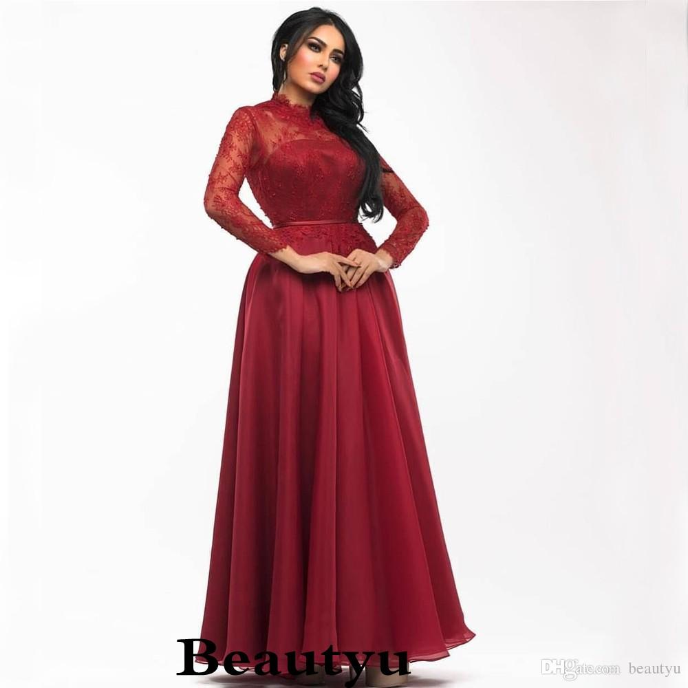 2549ad8724 Burgundy Saudi Arabia Prom Dresses Elegant Chiffon Lace Arabic Dubai Kaftan  Muslim 2018 Plus Size A Line Long Sleeve Formal Evening Gowns