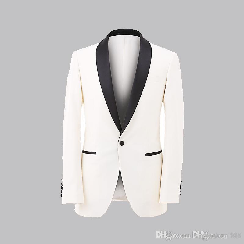2018 Nouvelle Arrivée Slim Fit Ivoire Hommes Costumes Marié Hommes Costume Smokings Garçons d'honneur De Mariage Dîner Meilleur Homme Costume Époux Veste + Pantalon + Bow