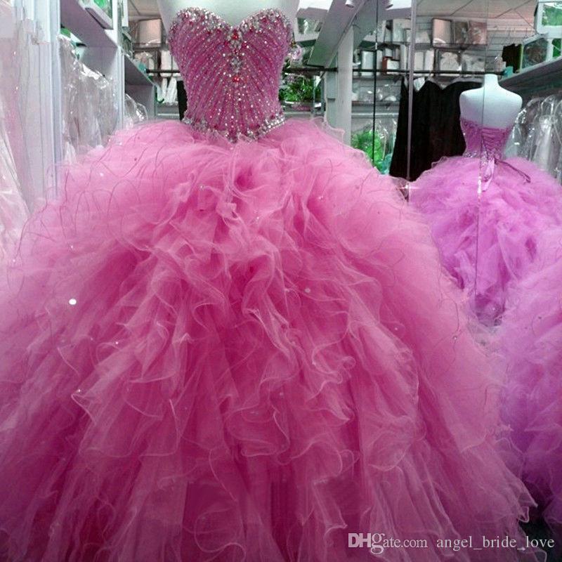 4719a443a Compre 2018 Sexy Crystal Rebordear Vestido De Bola Vestidos De Quinceañera  Con Lentejuelas Tulle Sweet 16 Vestido Lace Up Plus Size Vestido De 15 Anos  Bq22 ...