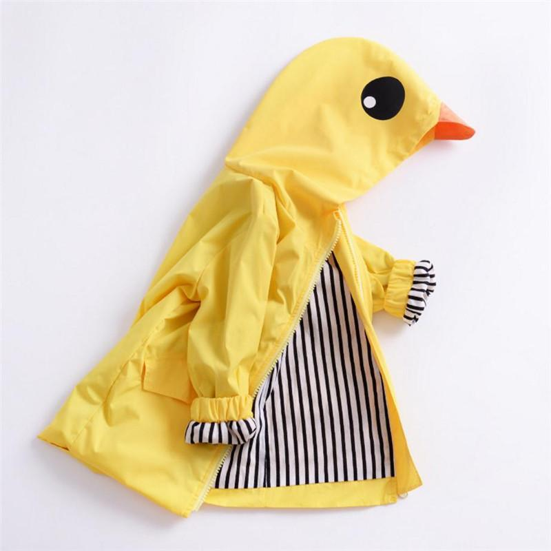 57a9a1bdf Cute Causal Kids Jacket Coat Solid Animal Duck Hooded Trench Coat ...
