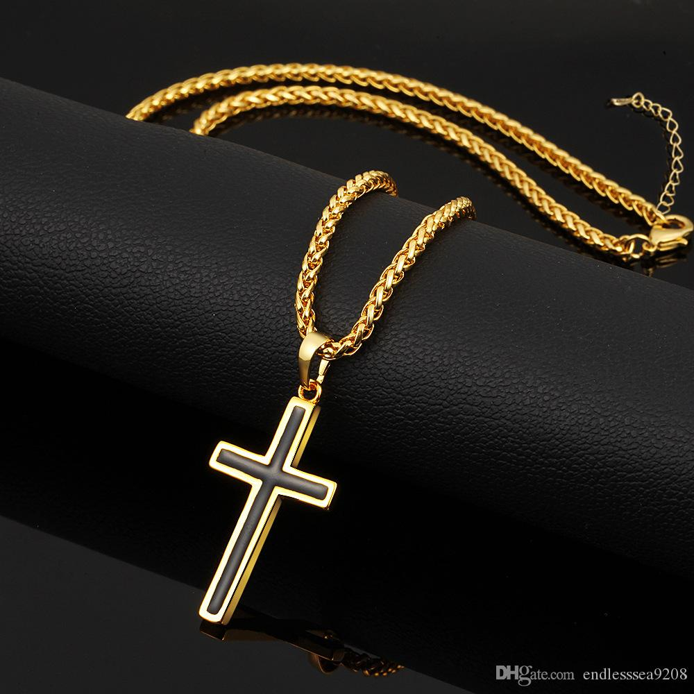 Latin Christian Cross Pendants Necklaces Religious Jewelry 18K Gold Plated/Stainless Steel Fashion Cross Jewelry Perfect Gift Accessories