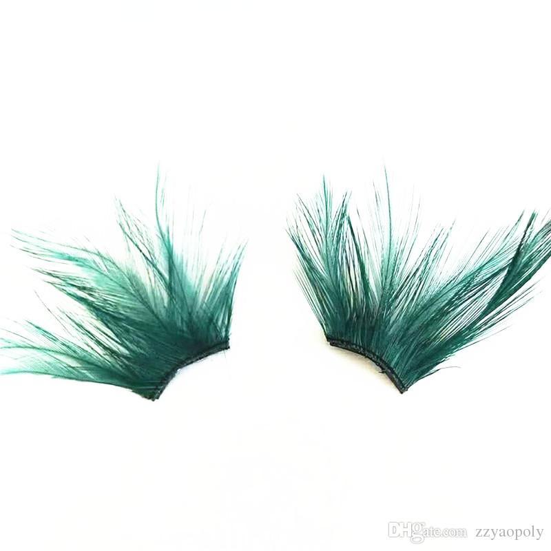 Green Crisscross Black False magnetic Eyelashes Feather Exaggerated Messy Winged Fake Eyelashes Latin Made Makeup Eye Lashes