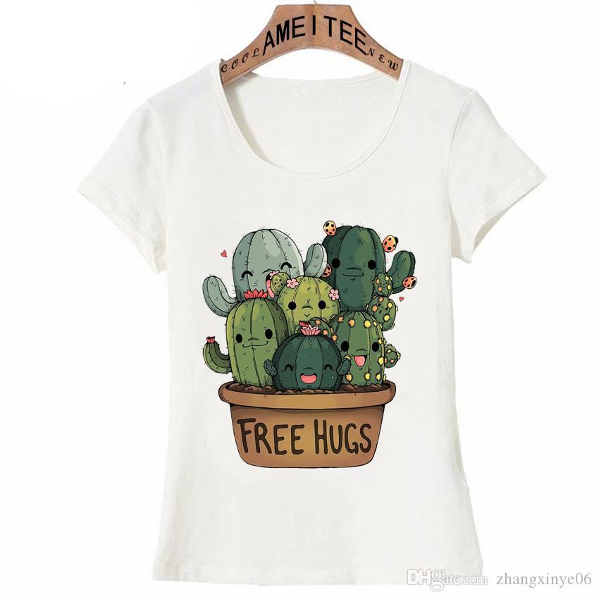 6a8e71ceb New Summer Fashion Women T Shirt Cute Cactus Free Hugs Girl Print T Shirt  Mini Casual Tops Cute Tees Hipster Short Sleeve T Shirts Very Funny T Shirts  From ...