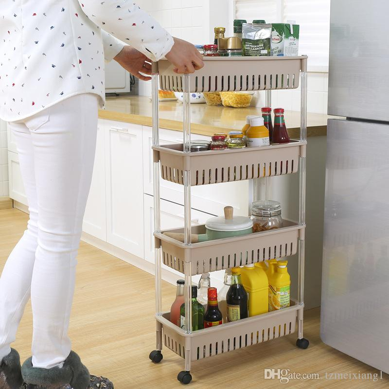 Four-layer Japanese-style Plastic Floor Type Kitchen Sundries Storage Rack and Bathroom Shelves