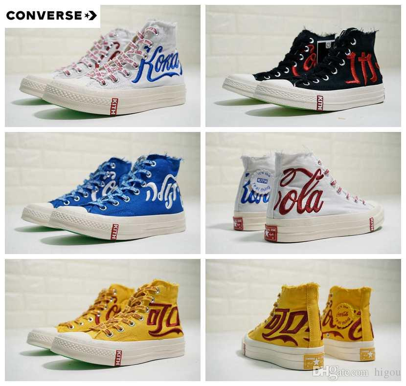 dc15faf054c7 Acheter 2018 Nouveau Kith Coca X Converse Chaussures All Stars Chuck 1970S  Toile Cola Femmes Hommes Blanc Bleu Rouge Designer Occasionnel Running  Sneakers ...