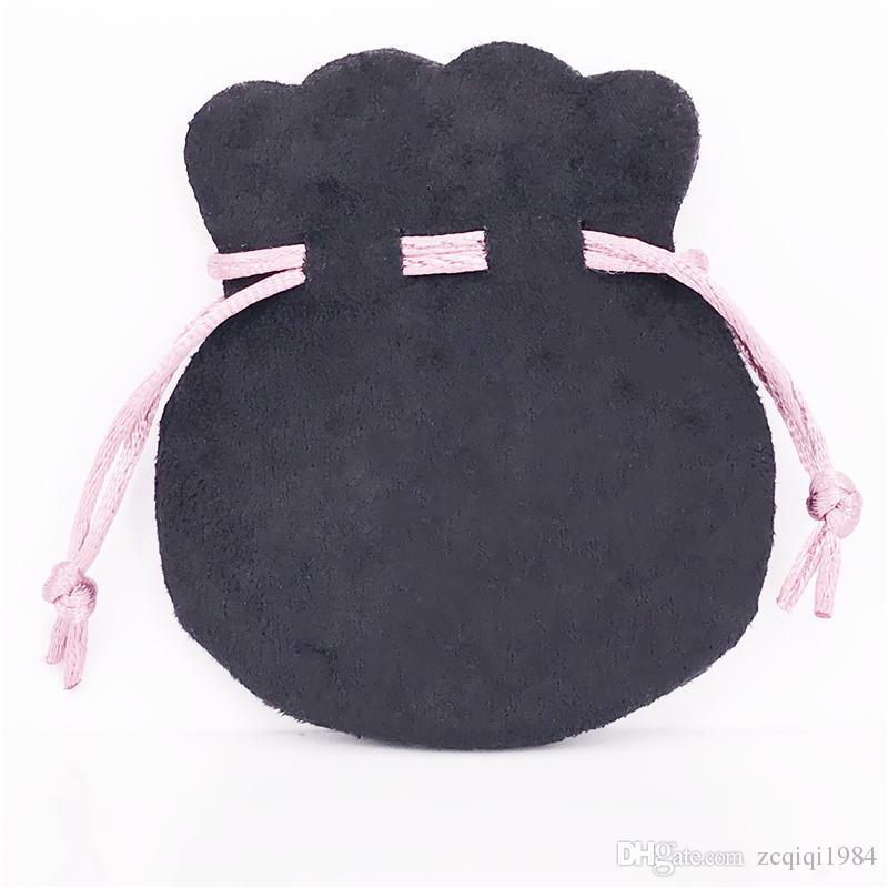 2 ألوان مجوهرات الوردي الشريط الأسود المخملية الحقائب حقائب البدلة ل ماركة أوروبية الخرز سحر مجوهرات كيس التغليف