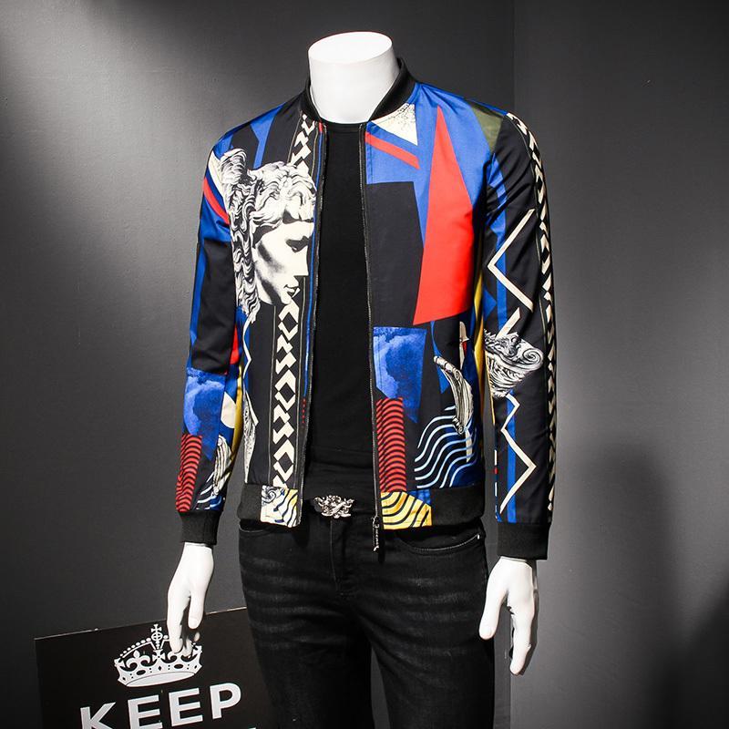 new style 3162e 61ac2 Royal Blue Muster Jacke 2018 Herren Bomber Jacke Luxus Social Club Party  Prom Bühne Kleidung Für Männer Übergröße 5xl
