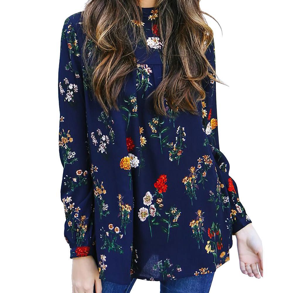 d4add8567 Compre Mujeres Con Estampado De Flores Blusa De Gasa De Moda De Manga Larga  De Cuello Alto Tops Vintage Keyhole Volver Azul Marino Camisa Camisas Mujer  #VE ...