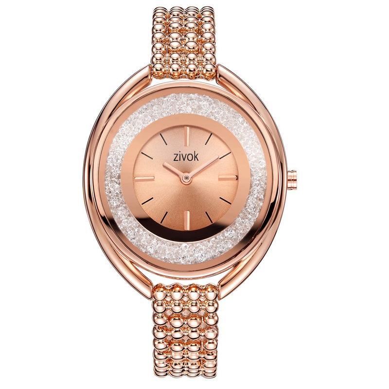 6243d1d7f757 Compre Zivok Marca De Lujo Mujeres Pulsera Relojes Moda Oro Rosa Cuarzo  Amantes Reloj Reloj Para Mujeres Niñas A  25.32 Del Qiufenshuan