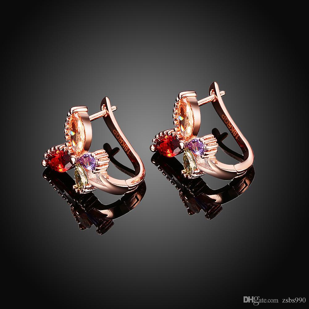 Fabrik Preis Großhandel 18 Karat Rose Gold Überzogene Charme Schmetterling Ohrclips mit Zirkon Fashion Party Geschenk Schmuck Für Frauen Freies Verschiffen