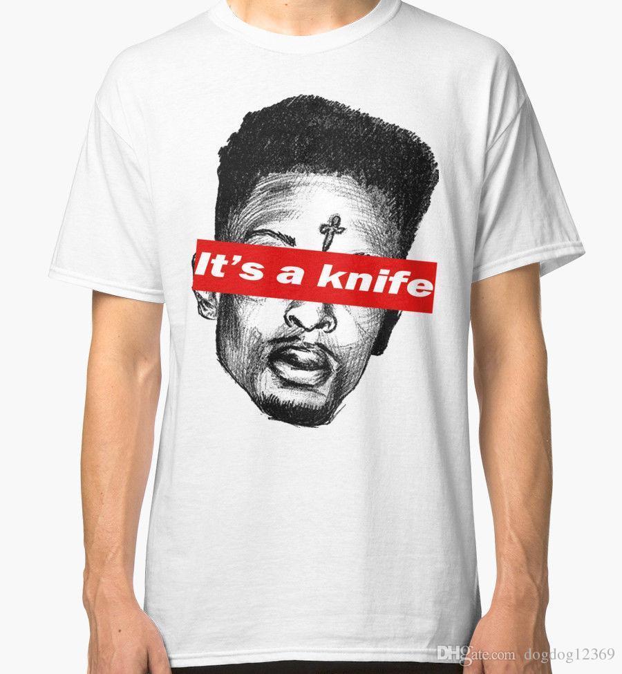 Grosshandel 21 Savage Ist Ein Messer Herren Weiss T Shirts Hemd