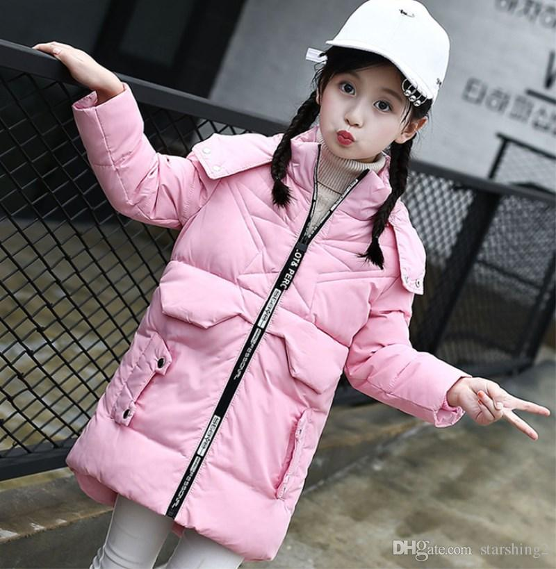 20ebeab4b40ae Girl s DownJacket Children Long Patten Winter Coats Toddlers Printed  Thickening Warm Overcoats Kids Fashion Warm Hooded Outerwear 5-12 Years Winter  Coats ...