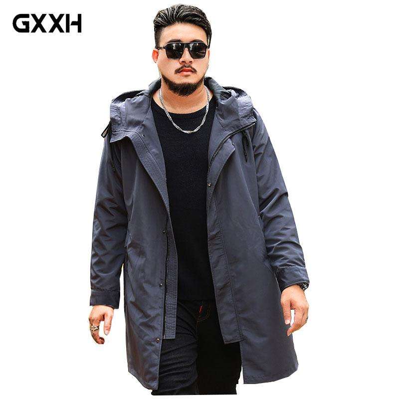 GxxH brand Large size Mmen's Gray jacket Loose Casual Flight Suit Spring and Autumn Thin section Lapel Long Hooded Trench Coat