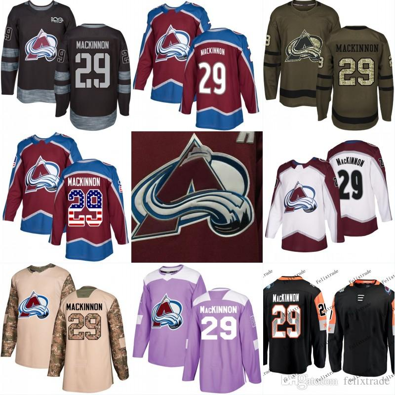 classic fit 060ac 90ad5 29 Nathan MacKinnon Colorado Avalanche Hockey Jerseys Black 100th All Star  Game Camo Veterans Day Cancer Purple American Flag Number Green