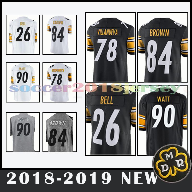 reputable site 55e29 7b952 Pittsburgh steelers jersey 19 Juju Smith-Schuster 84 Antonio Brown 50 Ryan  Shazier Men's football jerseys top quality 2019 NEW