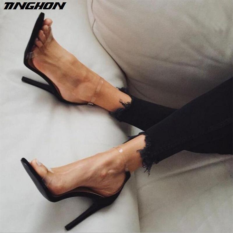 c4bc6eeae7 Compre Venda Quente PVC Mulheres Sandálias Plataforma 12 CM Super Salto Alto  À Prova D Água Feminina De Cristal Transparente Sapatos De Casamento Do  Vintage ...