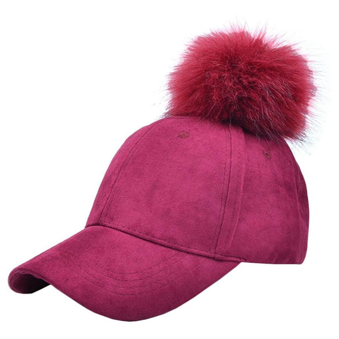 71d40e986d4 BFYL Fashion Women Pompom Ball Faux Suede Adjustable Baseball Cap Hip Hop  Hat Richardson Hats Headwear From Huteng