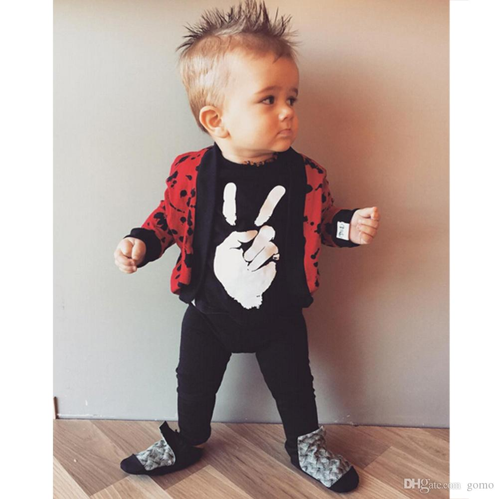 909499f6b Baby Boys Girls Black Long Sleeve Romper Spring Autumn Clothes Hand Printed  Kids Casual Rompers Jumpsuit Outfits One-piece