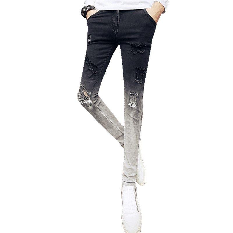 bd9edb40b5dc5 Super Skinny Jeans Männer 2018 Mode Blume Stickerei Zerrissene Männer Jeans  Casual Slim Fit Schwarz Hip Hop Denim Hosen Hosen