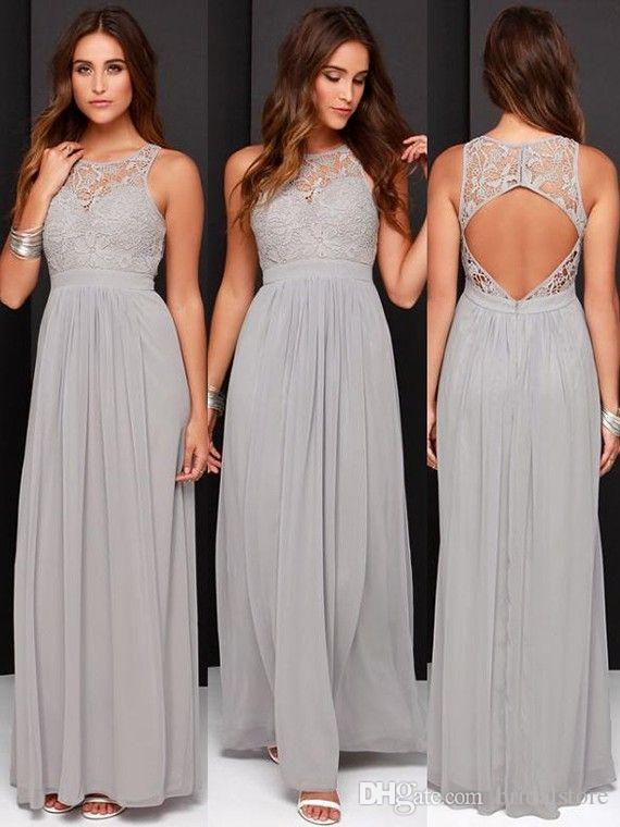 Fantasy Country Style Dusty Grey Bridesmaid Dresses A Line Floor Length  Chiffon Top Lace Modest Maid Of Honor Dreses Sexy Keyhole Back 2019 Junior  ... 5af39f25cb66