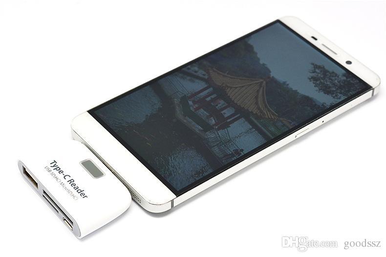 4 In1 USB 3.1 Tipo C USB-C TF SD Micro SD Lector de tarjetas OTG Kartenleser Blanco Negro Para Macbook Teléfono Tablet