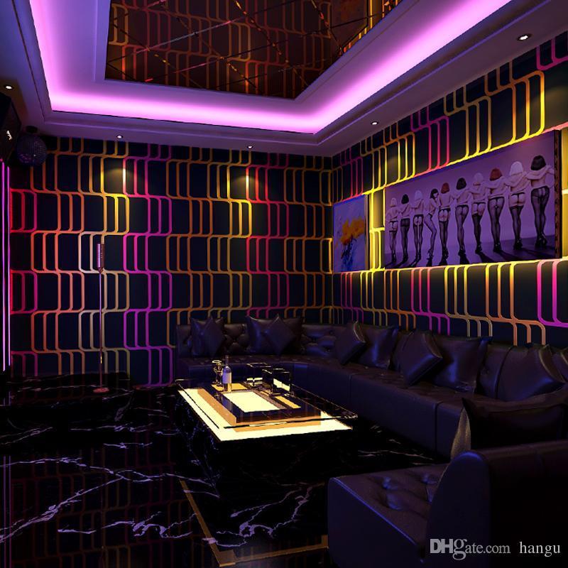 New Wallpaper Bedroom Reflective Wall Paper Popular Line Lattice Color Wave Ballroom Ktv Theme Room 3d Background Free Hd