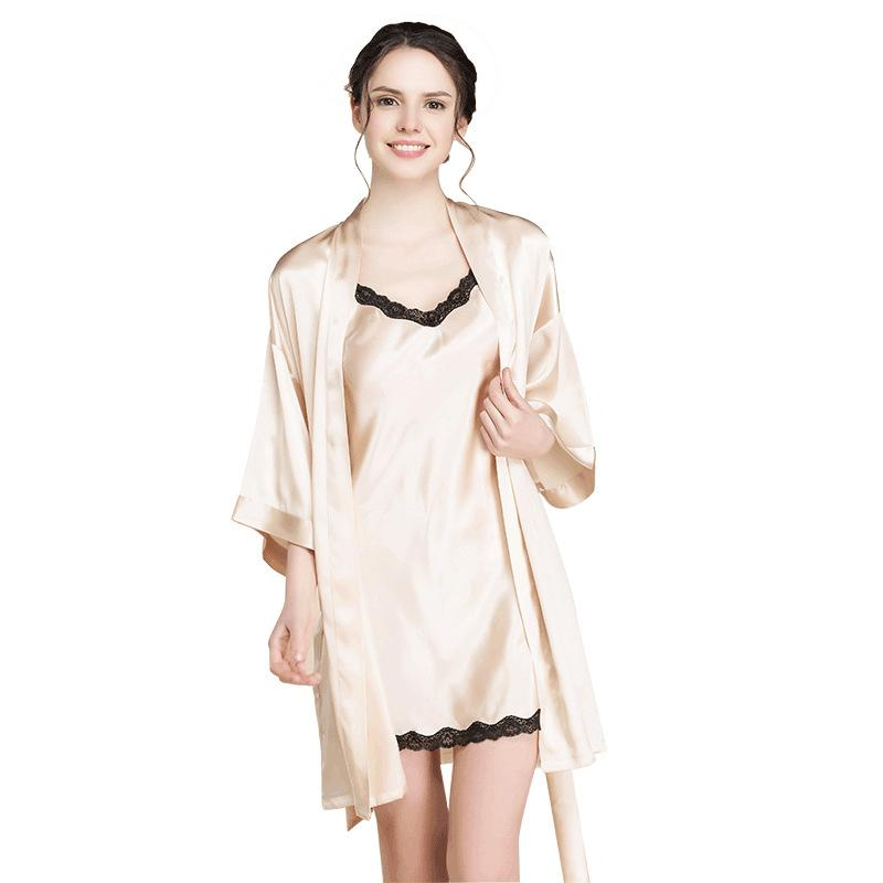 f6095455dedf 2019 Women S Sleep Lounge Robe Sets Golden Lace Silk Dress Sleepwear Dress  Nightdress Lingerie Sexy Loose Two Pieces 2018 Summer New From Tutucloth