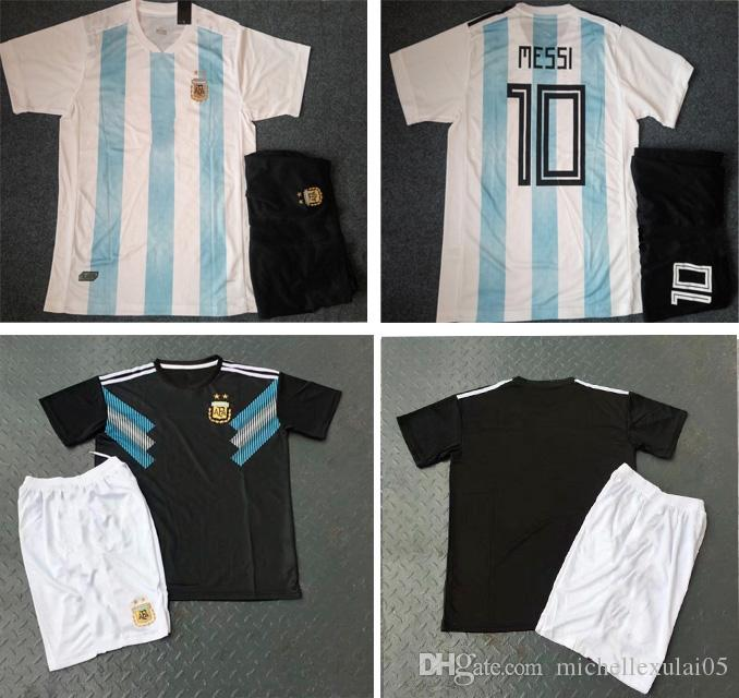 cb2712726 2019 Argentina 2018 Home Soccer Set Short Sleeve Football Jersey And Short  Adult S Away Thai Quality Sports Suits MESSI World Cup Soccer Uniforms From  ...