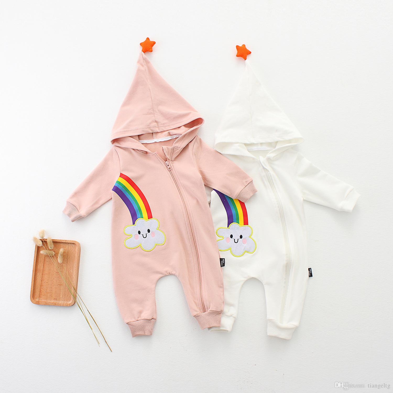 7bfa79c75abf 2019 Baby Rainbow Hooded Romper With Star Boy Girls Cotton Spring Autumn  Jumpsuit Long Sleeve Zip 0 24M From Tiangeltg