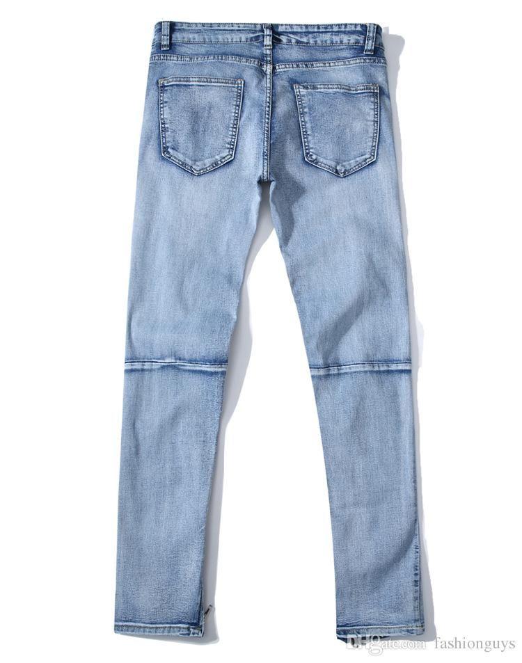 457be5f89bc9 New Fashion Broken Hole Jeans Long for Men High Street Zipper Knee ...