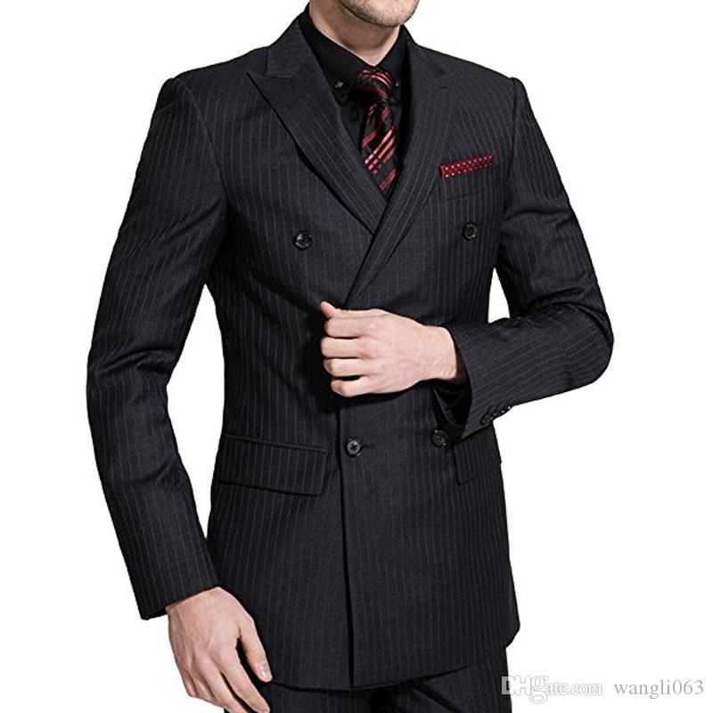 Black Plaid Wedding Groomsmen Tuxedos Groom Wear Jacket Pants Vest Double Breasted Business Party Men Suits